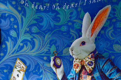 The White Rabbit, dark blue version, pure silk-satin scarf/wrap.