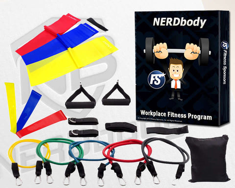 NERDbody Deluxe Fitness System (Heavy Duty Tube Bands, Flat Bands and Loop Bands)