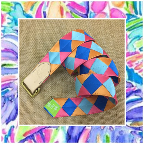 Lilly Pulitzer-inspired grosgrain Double Square Loop belt by Boy-O-Boy Bridleworks.