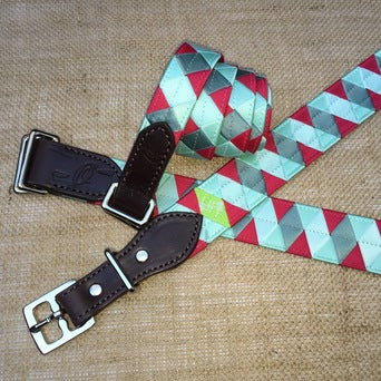Boy-O-Boy Bridleworks custom grosgrain and satin Double Square Loop and Stirrup Buckle Belts.