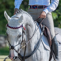 Boy O Boy Bridleworks Straight Traditional Finish Browband with Matching Double Square Loop Belt