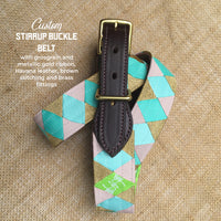 Boy O Boy Bridleworks Custom Stirrup Buckle Belt with Metallic and Grosgrain Ribbon