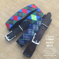 Boy O Boy Bridleworks Custom Stirrup Buckle Belt with Tartan Ribbon