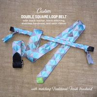 Boy O Boy Bridleworks Custom Satin Double Square Loop Belt with Matching Traditional Finish Browband