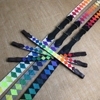Boy O Boy Bridleworks Proud Rainbow Polo Finish Browbands and Stirrup Buckle Belts