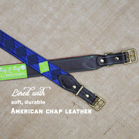 Boy O Boy Bridleworks Ready to Ship Warrenton Tone-on-Tone Satin and Grosgrain Stirrup Buckle Belt chap leather lining