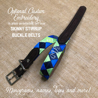 Boy O Boy Bridleworks Skinny Stirrup Buckle Belts with Custom Embroidery