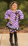Purple Chevron Witch Boots Polka Dress