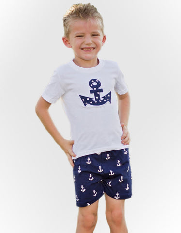 Navy Blue White Anchor Shorts Set