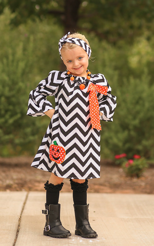 Black Chevron Pumpkin Dress