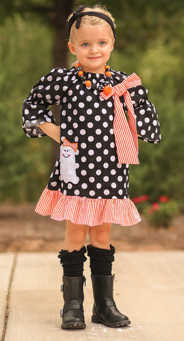 Black Polka Stripe Ghost Dress