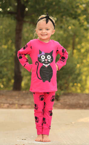 Hot Pink Cat Pajamas Set