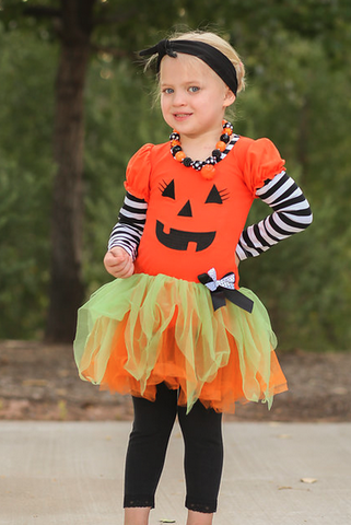 Pumpkin Tutu Dress With Leggings