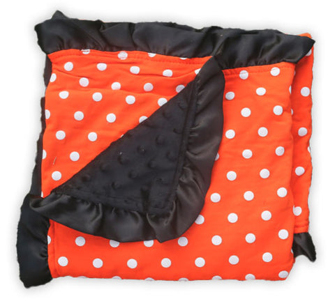 Orange Polka Black Minky Blanket