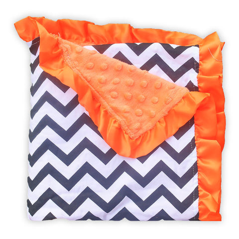 Black Chevron Orange Minky Blanket
