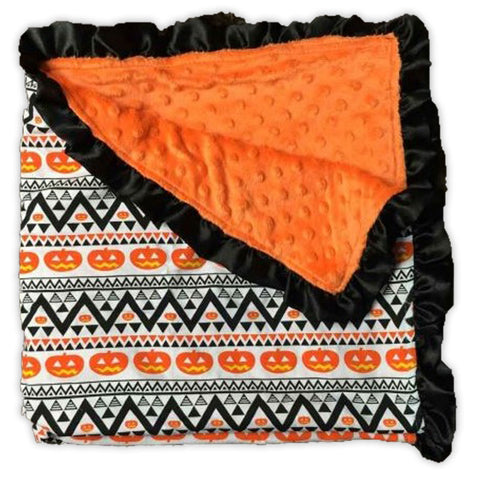 Pumpkin Aztec Orange Minky Blanket