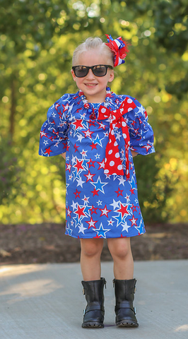 Polka Star Peasant Dress