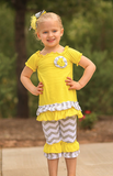 Yellow Gray Chevron Flower Capri Set
