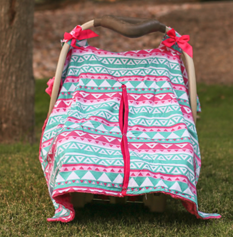 Teal Aztec Hot Pink Minky Car Seat Canopy