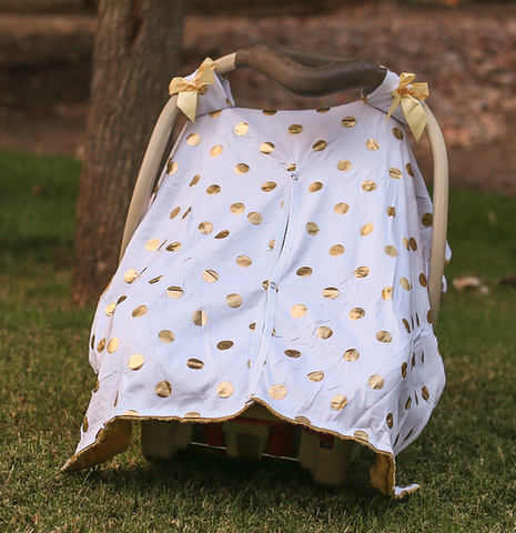 White Gold Polka Gold Minky Car Seat Canopy