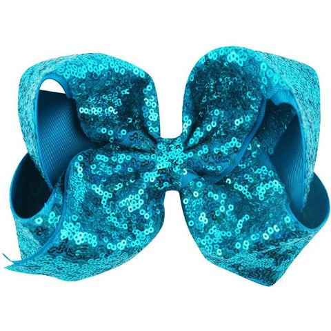 8 Inch Hair Bow Aqua Blue Sequin Signature