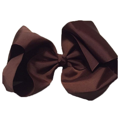 8 Inch Hair Bow Brown Signature