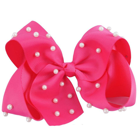 8 Inch Hair Bow Bubblegum Pink Pearl Signature