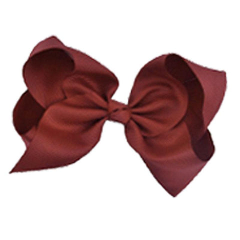 8 Inch Hair Bow Burgandy Signature