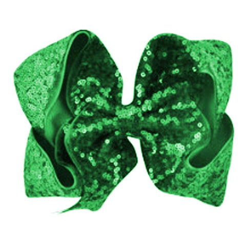 8 Inch Hair Bow Emerald Green Sequin Signature
