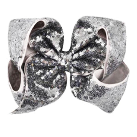 8 Inch Hair Bow Gray Sequin Signature
