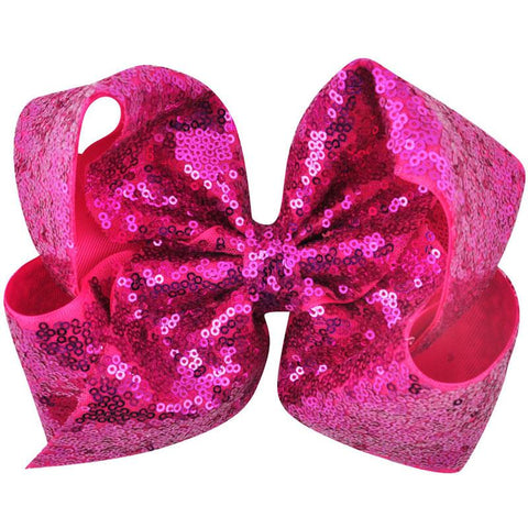 8 Inch Hair Bow Hot Pink Sequin Signature
