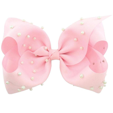 8 Inch Hair Bow Light Pink Pearl Signature