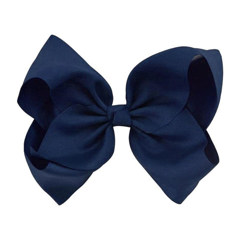 8 Inch Hair Bow Navy Blue Signature