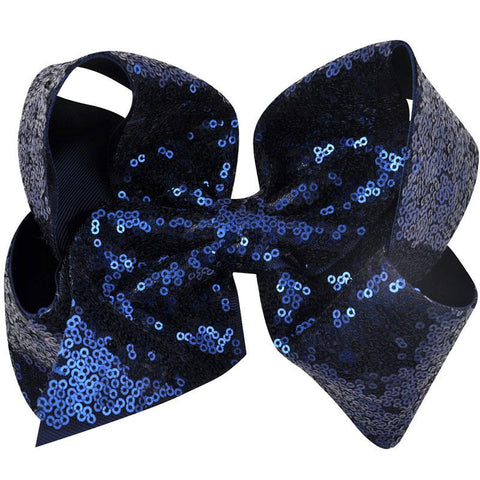 8 Inch Hair Bow Navy Sequin Signature