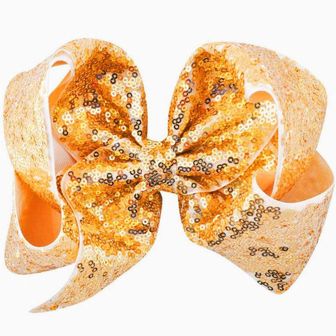 8 Inch Hair Bow Orange Sequin Signature