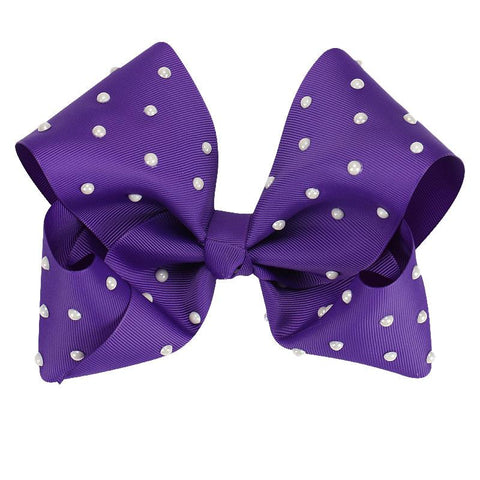 8 Inch Hair Bow Purple Pearl Signature