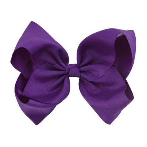 8 Inch Hair Bow Purple Signature