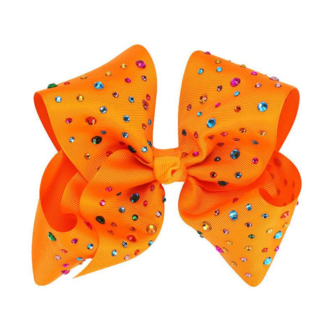 8 Inch Hair Bow Rainbow Rhinestone Orange Signature