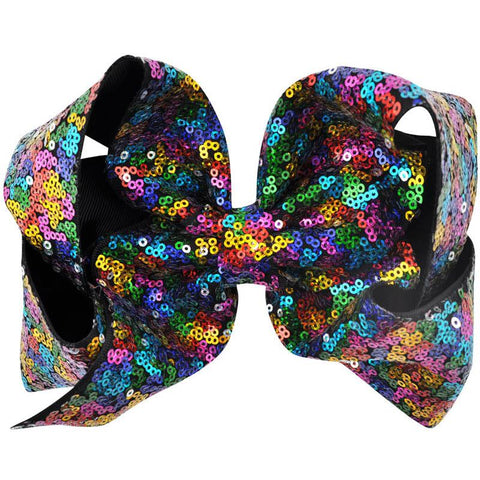 8 Inch Hair Bow Rainbow Sequin Signature