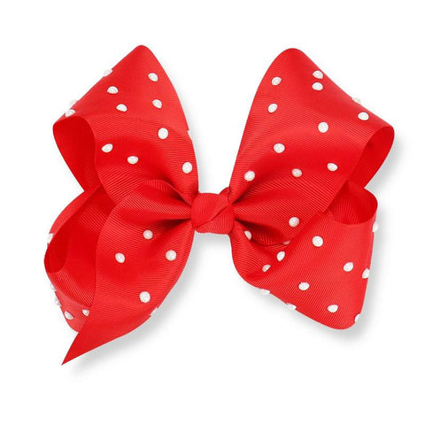 8 Inch Hair Bow Red Pearl Signature