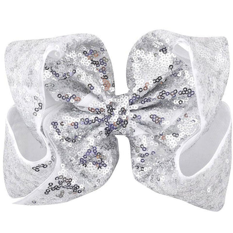 8 Inch Hair Bow Silver Sequin Signature