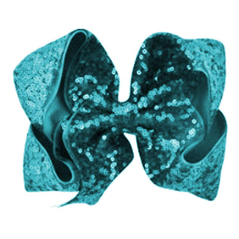 8 Inch Hair Bow Teal Sequin Signature