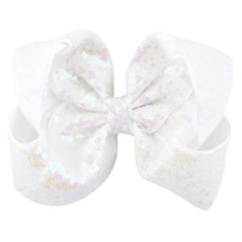 8 Inch Hair Bow White Sequin Signature