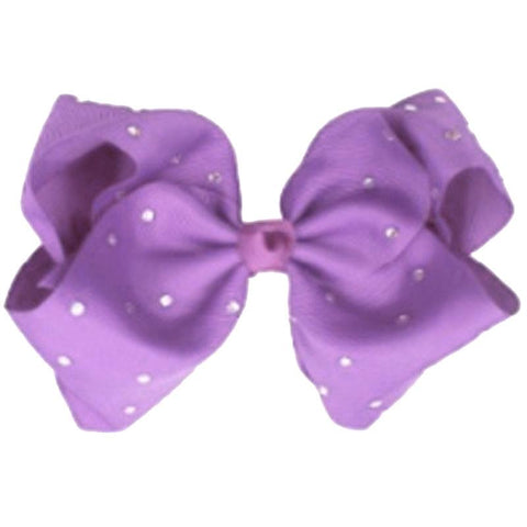 8 Inch Light Purple Hair Bow Rhinestone Signature