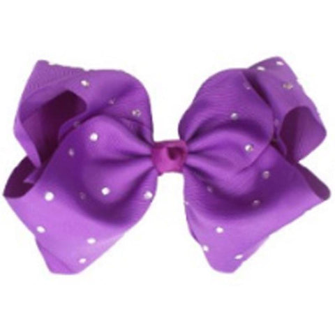8 Inch Purple Hair Bow Rhinestone Signature