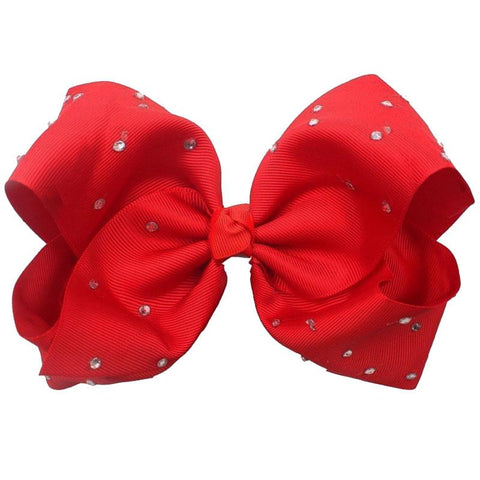8 Inch Red Hair Bow Rhinestone Signature