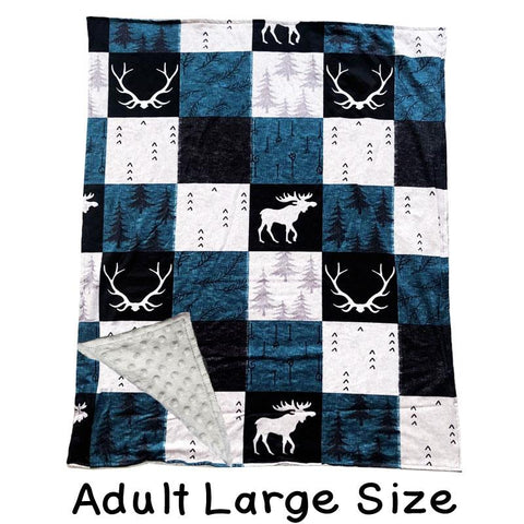 Adult Large Blue Gray Deer Antler Patchwork Minky Blanket