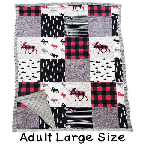 Adult Large Buffalo Plaid Moose Patchwork Gray Minky Blanket