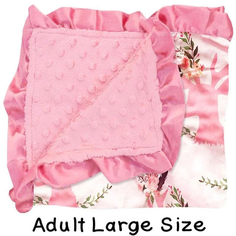 Adult Large Deer Floral Pink Minky Blanket
