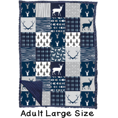Adult Large Navy Deer Woodland Gray Minky Blanket